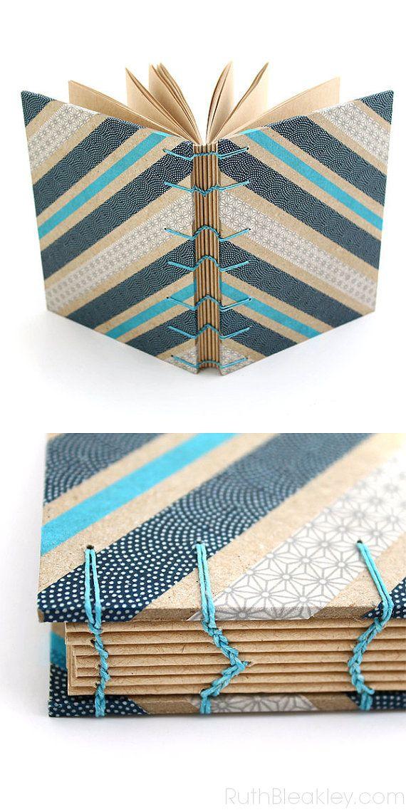 Azul gran regalo diario de Washi Tape  copto a mano puntada