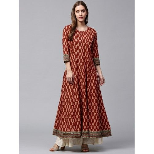 c722558af Nayo Women Red   Beige Printed Anarkali Kurta