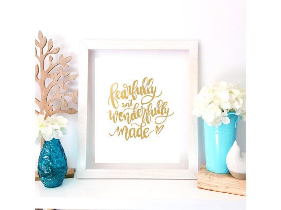Fearfully and Wonderfully Made  Psalm 139 14 Handlettered
