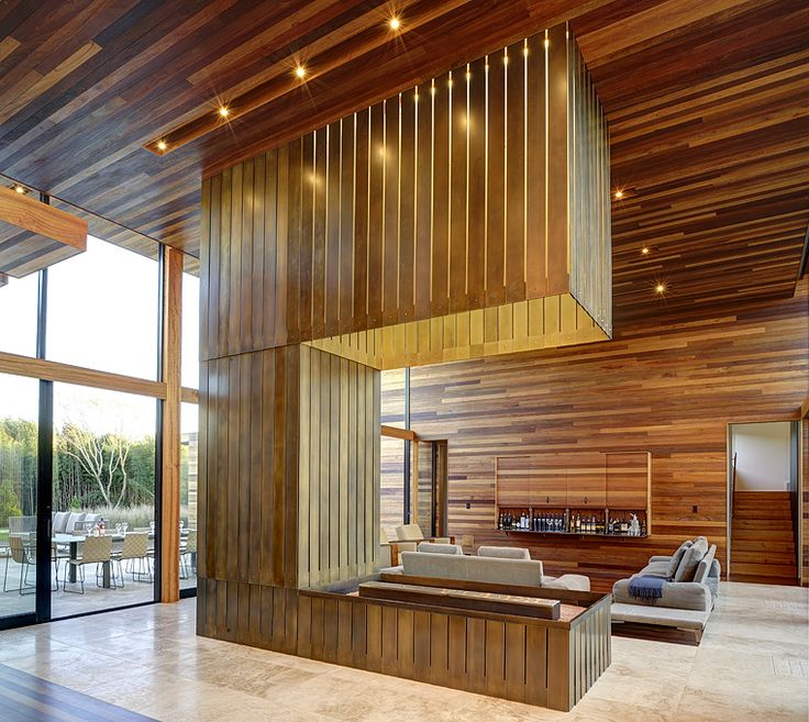 Wood wood & wood: Living Rooms, Sam Creek, Interiors Design, Masi Architects, Modern Architecture, Wooden Wall, Bates Masi, Houses Design, Fire Pit
