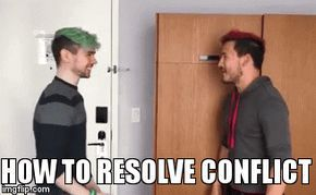 The proper way to resolve conflict | HOW TO RESOLVE CONFLICT | image tagged in gifs,funny,markiplier,jackseptcieye,youtubers,bitchslap | made w/ Imgflip video-to-gif maker