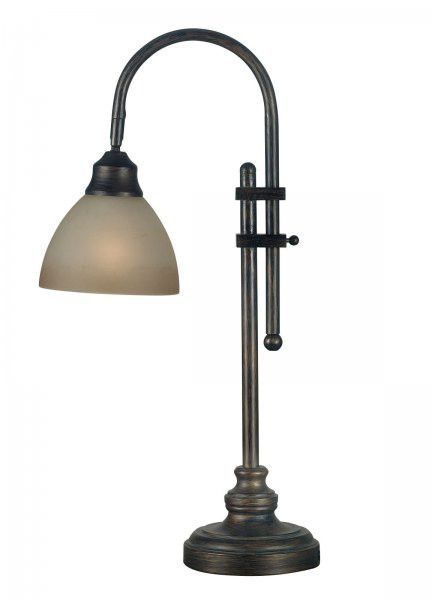 "Callahan Desk Lamp (Bronze Heritage Finish) (28""H x 7""W x 7""D). The Callahan Desk Lamp has traditional touches that make this a timeless lighting choice. With an adjustable design, this traditional desk lamp can be conveniently positioned for just the right task lighting. A durable metal base with an attractive bronze finish gives this lamp it's timeless look. A smooth, glass shade ensures this light gives off a soft glow. This stylish lamp can even be used for bedroom or living room…"