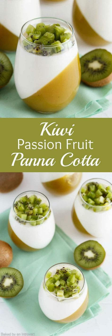This Kiwi Passion Fruit Panna Cotta is a simple yet fancy dessert. The fruit layer is kiwi puree mixed with passion fruit juice and thickened with gelatin. The panna cotta layer uses vanilla bean paste for a rich vanilla flavor. Top the dessert with fresh kiwi and enjoy this elegant, creamy treat!