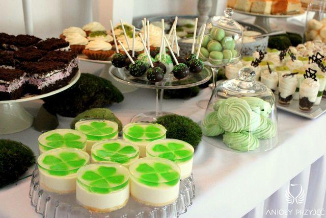 Irish theme Wedding,Sweet table decoration,Cakes,Cake pops/Irlandzkie wesele,Słodki stół,Ciasta,Anioły Przyjęć