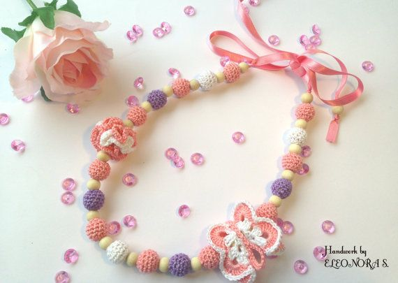 Little girl pink necklace baby accesories baby by ILoveAmigurumi
