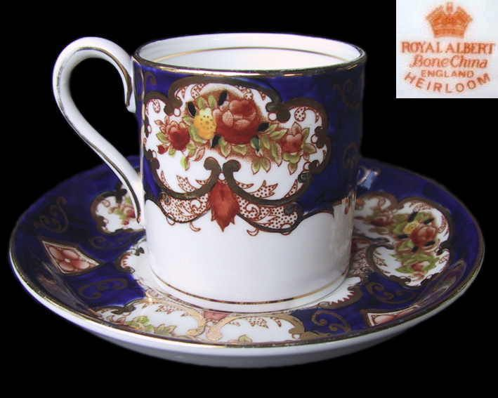 Royal Albert HEIRLOOM Coffee Can / Cup & Saucer Set 1st Eng c1940 s