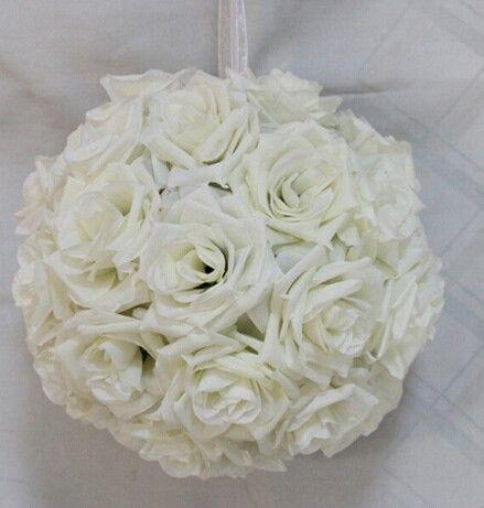 20 cm Dia élégante lait blanc soie artificielle sertissage Rose boule de fleurs boules à baiser pour de soirée de mariage décoration fournitures(China (Mainland))