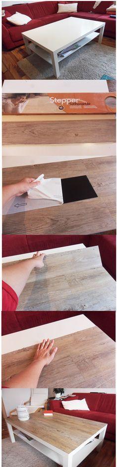 Ikea hack Ikea Lack Tisch - passer d'une table blanche à une table finition bois grâce à des dalles autocollantes -  aufgewertet mit selbstklebendem PVC Laminat, ca 30€