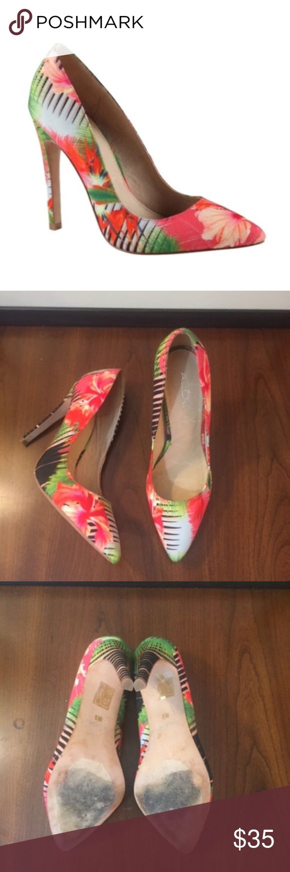 """EUC Aldo Ybuvia Floral Heels (8) Women's Aldo Ybuvia Floral Heels.  Aldo Floral pumps are such a versatile pair, you'll want to make sure to keep them at the front of your closet.  - Fabric upper in black velvet multi - Pointed closed-toe pumps - 4"""" covered heel Aldo Shoes Heels"""
