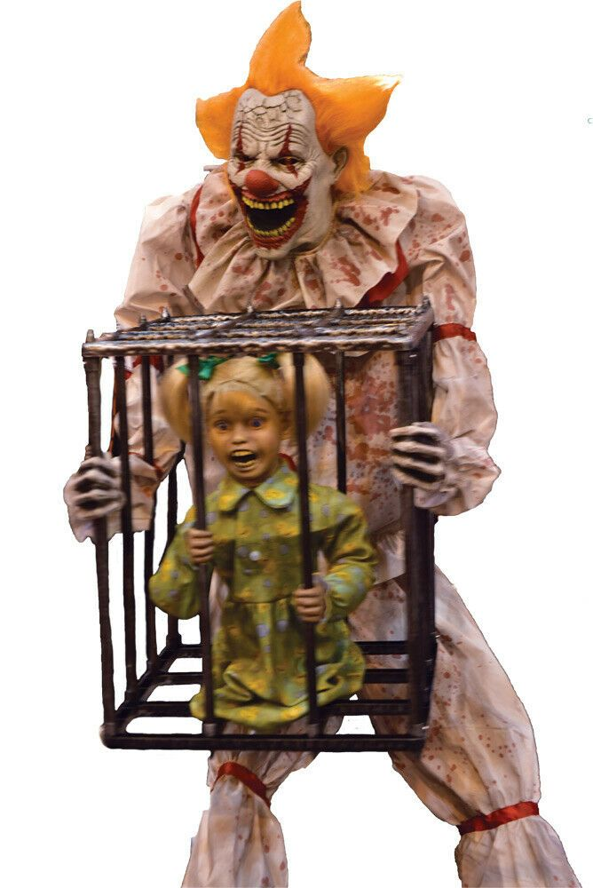 CAGEY THE CLOWN WITH GIRL ANIMATED PROP HALLOWEEN HAUNTED HOUSE