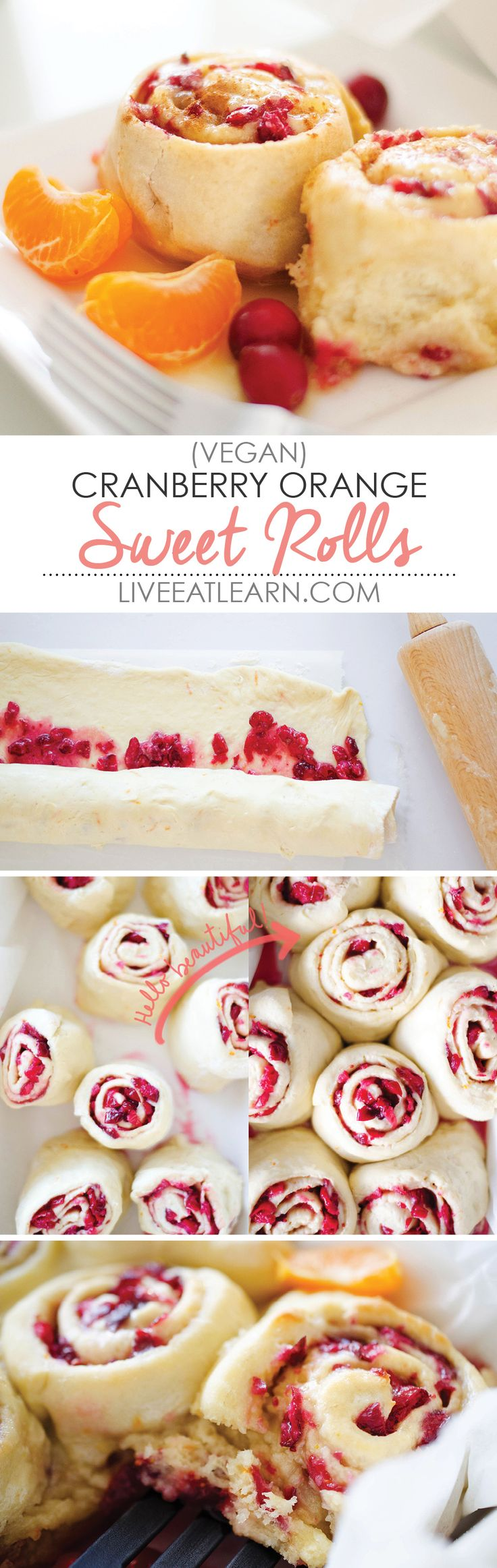 This Cranberry Orange Sweet Roll recipe is so easy and healthy! This fruity take on cinnamon rolls is perfect for breakfast and brunch. No one will believe you when you tell them it's vegan! // Live Eat Learn