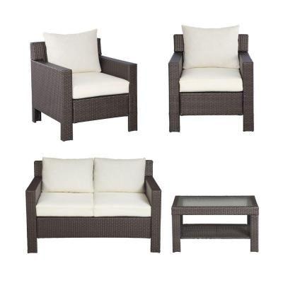 Hampton Bay Beverly 4 Piece Patio Deep Seating Set With Bare Cushion 55