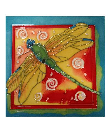 Another great find on #zulily! Red, Yellow & Turquoise Dragonfly Garden Tile #zulilyfinds