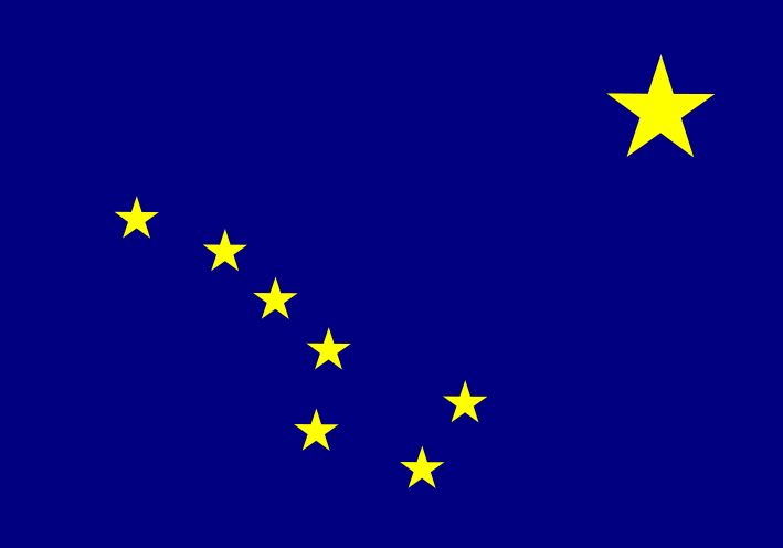 State Flag of Alaska! The blue background represents the sky and the Forget-me-not flower. On that background were placed eight gold stars to represent the Big Dipper and the North Star.