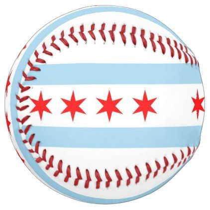 Patriotic Softball with flag of Chicago USA - kids kid child gift idea diy personalize design