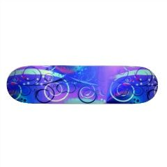 Abstract Floral Swirl Blue Purple Girly Gifts Custom Skate Board | Skateboards for Girls