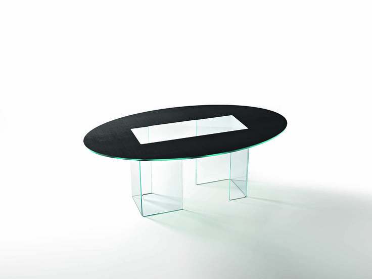 "Table consisting of two 12 mm transparent or extralight curved glass bases; top in 15 mm transparent or extralight ""Skinglass"" partially enamelled at high temperature with fabric-effect finish, available in two colours."