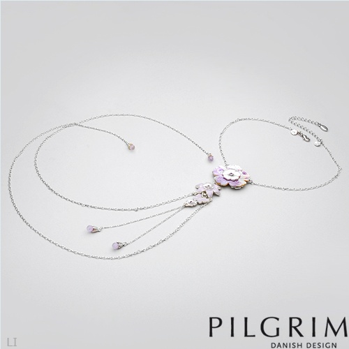 PILGRIM SKANDERBORG, DENMARK Superb Brand New Necklace With Crystals, Mother of pearl and Simulated gems Made in Silver Base metal and Violet Enamel. Total item weight 30.6g  - Certificate Available.