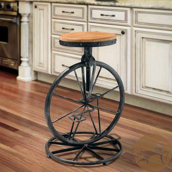 loft Amerikaanse rustieke meubels, hout barkruk europese mode smeedijzeren barkrukken roterende bar stoeltjeslift