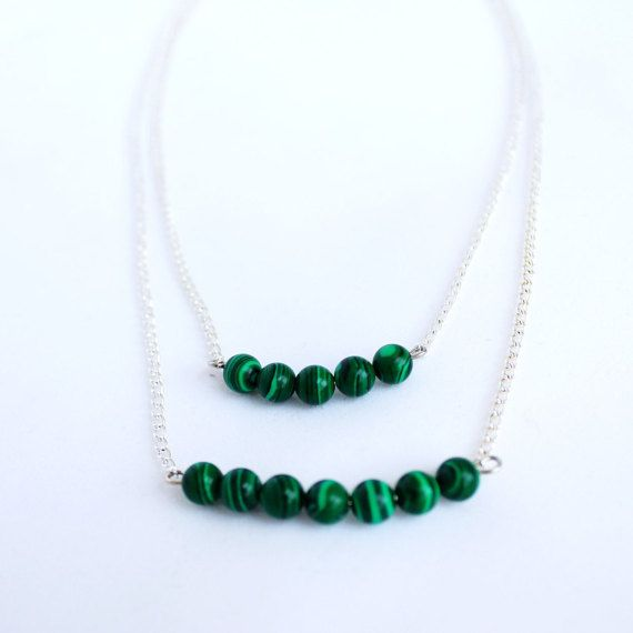 Green necklace dainty necklace bar by NotYourMomsJewellery on Etsy