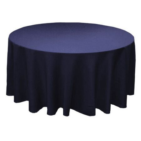 "90"" Round Polyester Navy Blue Tablecloth"
