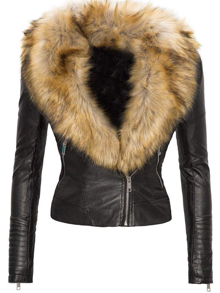 Tbdress.com offers high quality Wide Faux Fur Lapel Zip Up Slim Women's Jacket Jackets unit price of $ 42.99.