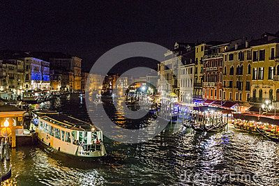 Grand canal in Venice at night , Italy , Europe . View from the Rialto  Bridge.