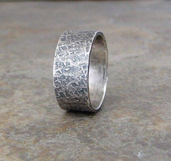 Mens-Hochzeitsband rustikale Ehering Silvert von SilverSmack