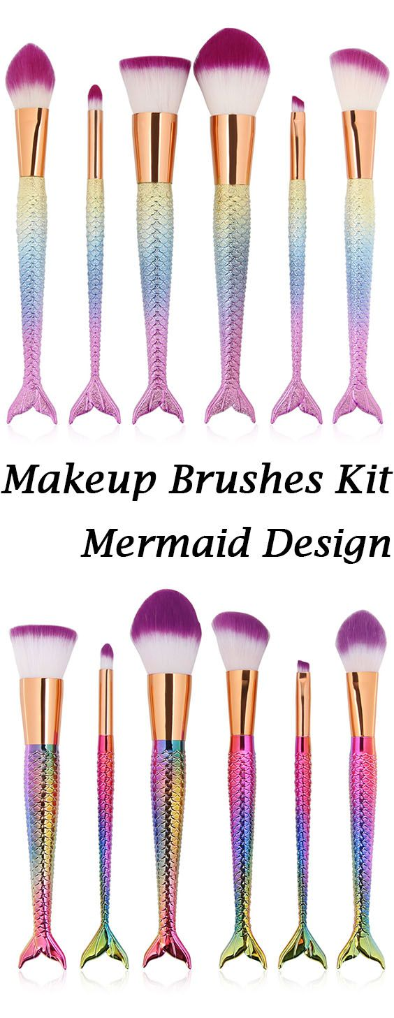 6 Pcs Mermaid Design Multipurpose Makeup Brushes Kit
