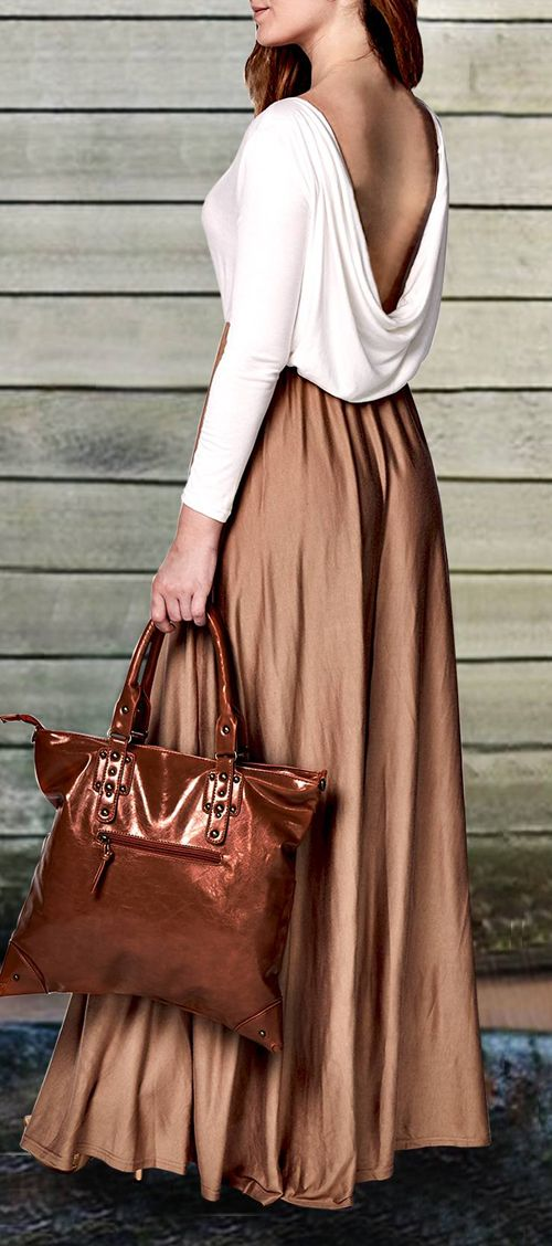 Long Sleeve Draped Open Back Maxi Dress