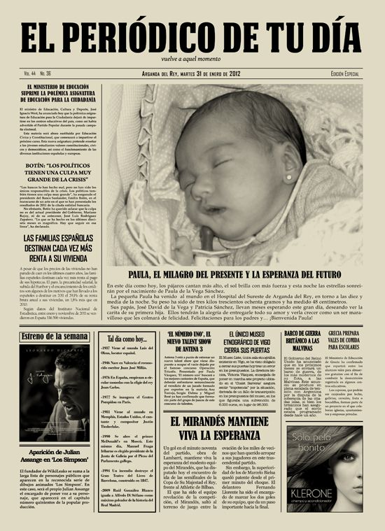 Periódico personalizado para el Día de la Madre - Mother's Day Gift Idea, personalised newspaper. Regalo original para esas ocasiones especiales.