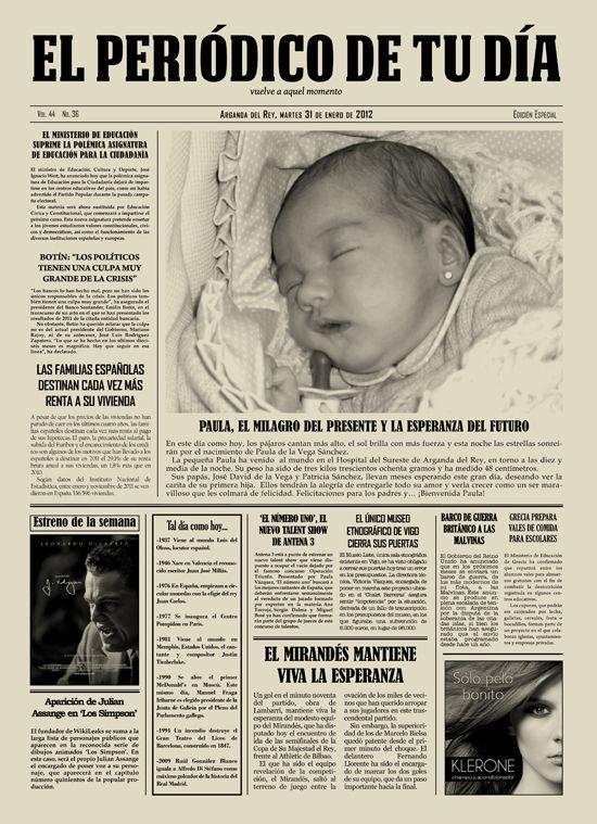 Periódico personalizado para el Día de la Madre - Mother's Day Gift Idea, personalised newspaper. Regalo original para esas ocasiones especiales.