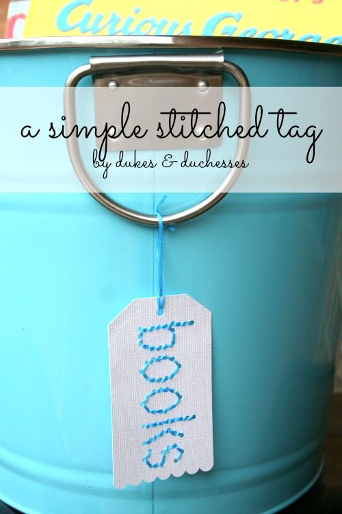 a simple stitched tag for labeling baskets