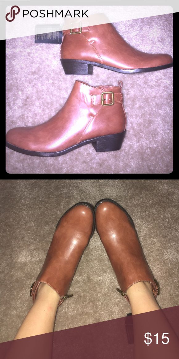 Brand new tan ankle boots from Forever 21 Comfortable camel/tan ankle boots from this past season. Never needed in the hot Florida weather, unfortunately, so they are in perfect condition! Forever 21 Shoes Ankle Boots & Booties