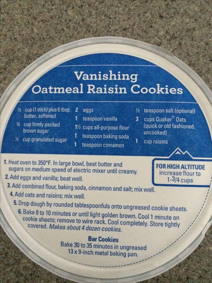 Quaker Oats Oatmeal Raisin Cookies