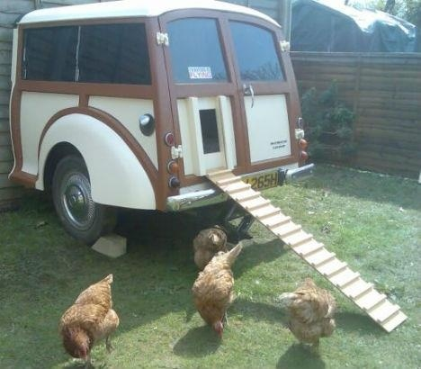 If I ever have a chicken coop! Maurice is an old, half-crushed 1970 Morris Traveler converted into a chicken coop by Michael Thompson. He cut the car in half, painted the interior black to create a private area for egg laying and cut a hole into the back door.