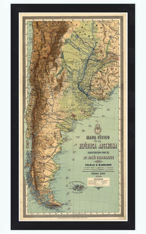 Old Map Argentina South America Antique map