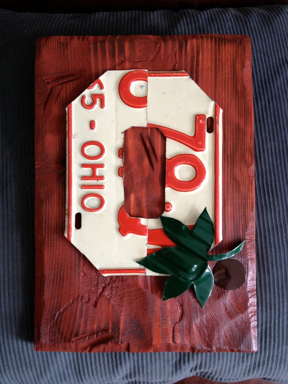 Ohio State Block O vintage license plate art by PlatesByWill