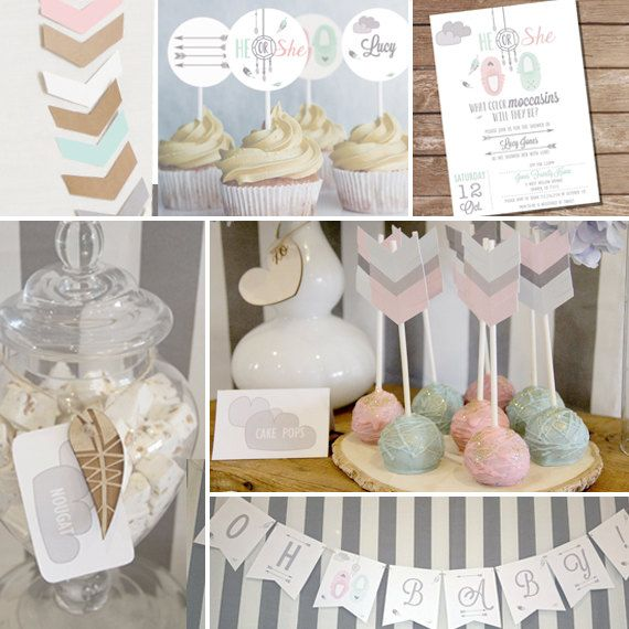 Tribal Baby Shower Theme in Grays and White - Tribal Unisex Baby Shower - Instant Download and Edit with Adobe Reader