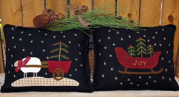 Winter Wool Applique Pillow Patterns: Joy Sleigh and Christmas Sheep Cart full-size patterns for hand sewing $7.95 on Etsy at http://www.etsy.com/listing/114436665/winter-wool-applique-pillow-pattern-joy