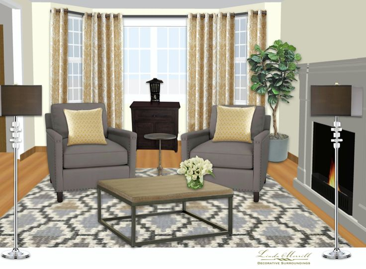 A transitional living room design for a virtual design client. Design and rendering by Linda Merrill. #virtual #design #edecor #edesign #transitional #gray #yellow #brass #chrome #antiques