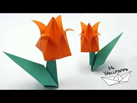 Origami Tulpe Falten Blumen Basteln Mit Papier Youtube