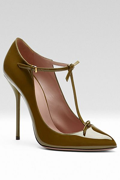 Gucci patent t-strap pump. I would wear these cute olive green babies to work, with a skirt of course!