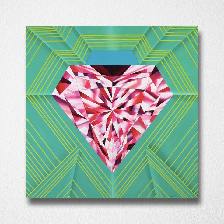 Radiate Brilliance (Canvas print) by Reena Ahluwalia. Fancy Vivid Pink Diamond. Starts from $295.00. #FancyColorDiamonds #DiamondPaintings #DiamondArt #ReenaAhluwalia #PinkDiamond #Diamond #Diamonds