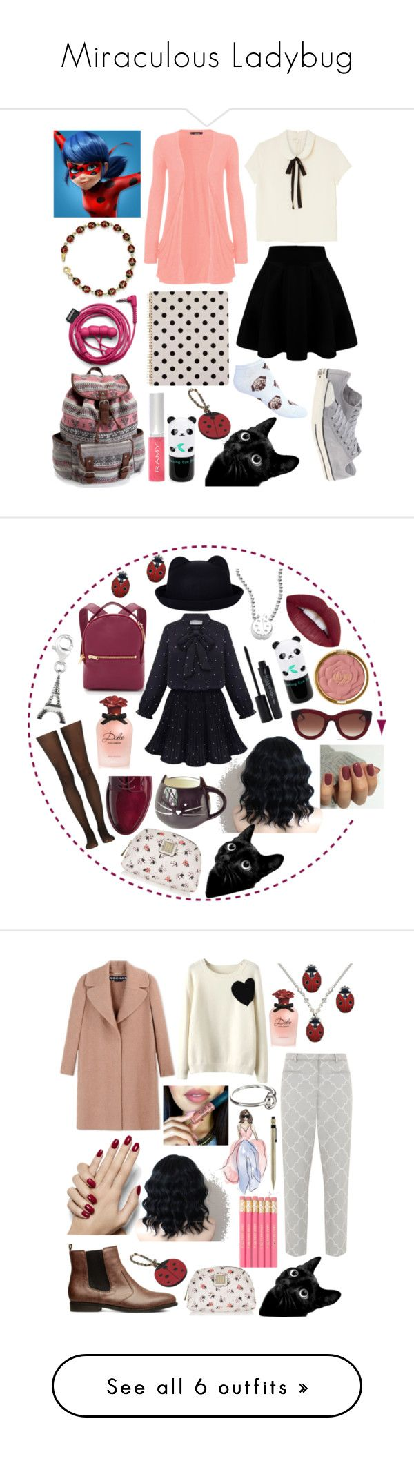"""""""Miraculous Ladybug"""" by foojtan on Polyvore featuring moda, WearAll, Monki, Converse, Kevin Jewelers, Aéropostale, Tony Moly, Hermès, Kate Spade i outfit"""