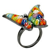 Found it at Wayfair - Millefiori Sterling Silver Butterfly Glass / Cubic Zirconias Ring