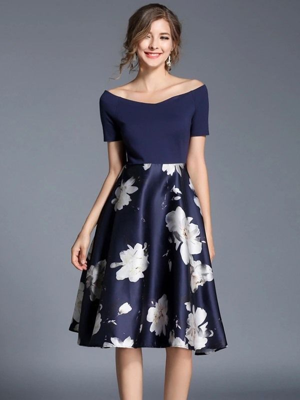 where to buy factory outlet united kingdom Vinfemass V-neck Slim Floral Printing Party Dress | Vestidos ...
