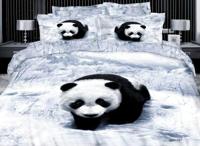 High quality Cute Panda Print 4 Piece Bedding Sets/Comforter Sets