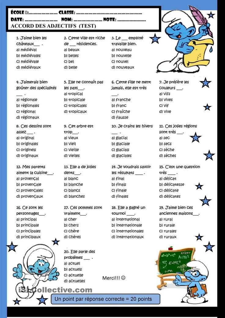 Accord des adjectifs .exercice
