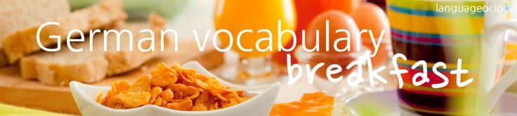 languageoclock:  der Ahornsirup - maple syrup das amerikanische Frühstück - American breakfast der Bagel (Bagels) - bagel der Becher - mug das Brötchen - bread roll die Brioche (Brioche) - brioche das Brot - bread die Butter - butter das Croissant (Croissants) - croissant das Ei (Eier) - egg der Eierkuchen - pancake/omlette das englische Frühstück - English breakfast das Frühstück (Frühstücke) - breakfast pl Frühstücksflocken - cereal der Frischkäse - cream cheese pl gebackene Bohnen - baked…